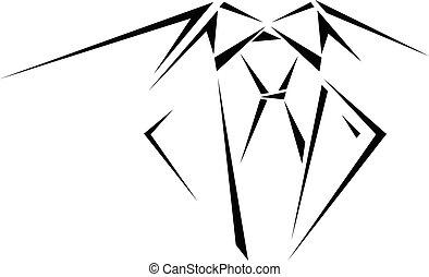 człowiek, szkice, garnitur