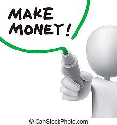 człowiek, ustalać, pieniądze, pisemny