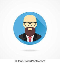 człowiek, wektor, łysy, broda