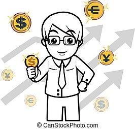 człowiek, znak, pieniądze, handlowy
