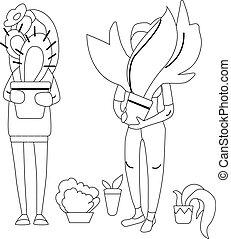 czarna kobieta, plants., kolorowanie, biały, illustration., reputacja, młody, book.