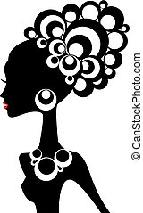 czarna kobieta, wektor