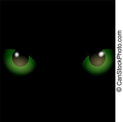 czarne wejrzenie, zielone tło