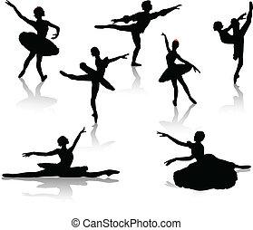 czarnoskóry, baleriny, sylwetka