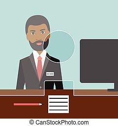 czarnoskóry, bank., człowiek, vector., płaski, urzędnik
