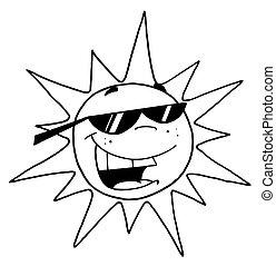 czarnoskóry, białe słońce, szkic