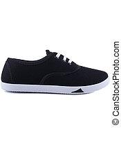 czarnoskóry, biały, sneakers, odizolowany
