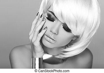 czarnoskóry, blond, hair., krótki, fason, portret, woman., biały, fringe., photo., piękno, style., moda, girl.