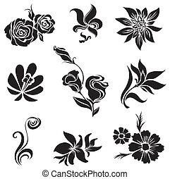 czarnoskóry, desig, liście, komplet, kwiat
