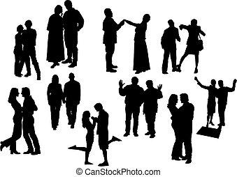 czarnoskóry, dziesięć, silhouettes., wektor, pary, illustration., biały