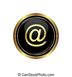 czarnoskóry, e, ikona, poczta