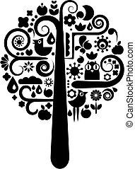 czarnoskóry, ekologiczny, drzewo, biały, ikony