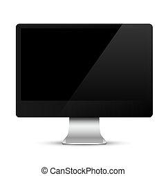 czarnoskóry, ekran, nowoczesny, hydromonitor komputera