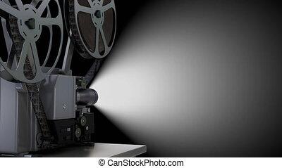 czarnoskóry, film, ekran, przędzenie, rzutnik, szpula, film, opróżniać, tło