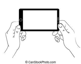 czarnoskóry, hands., smartphone, biały, linearny, utrzymywać, ilustracja