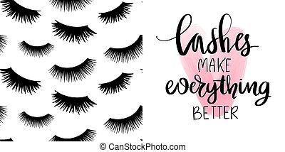 czarnoskóry, komplet, bicze, wektor, zacytować, próbka, seamless, makijaż, długi, eyelashes., fason, zamknięty, sprytny, o