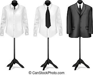 czarnoskóry, koszule, garnitur, biały