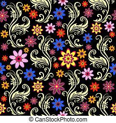 czarnoskóry, kwiatowy, seamless, tło
