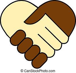 czarnoskóry, między, potrząsanie, ręka, biały