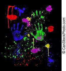 czarnoskóry, neon, fingerpainting