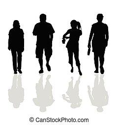 czarnoskóry, pieszy, sylwetka, ludzie