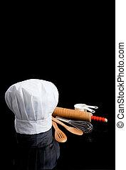czarnoskóry, przybory, tok, kuchmistrz, kuchnia