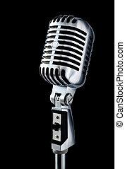 czarnoskóry, rocznik wina, mikrofon, na
