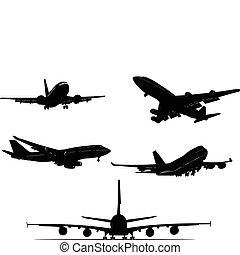 czarnoskóry, silhouett, samolot, biały