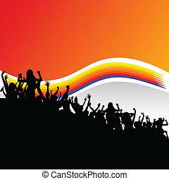 czarnoskóry, sylwetka, grupa, partia, ludzie