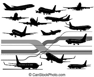 czarnoskóry, sześć, samolot, biały