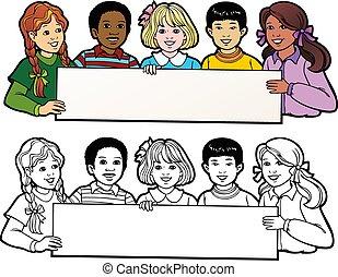 czarnoskóry, szkic, chorągiew, tłumaczenie, dzieci, premia