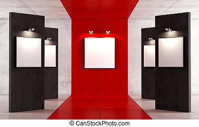 czarnoskóry, sztuka, rówieśnik, czerwony, ganek