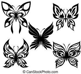 czarnoskóry, t, motyle, komplet, biały