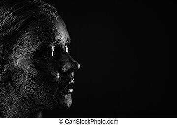 czarnoskóry, twarz, kobieta, fotografia, piękny, sztuka