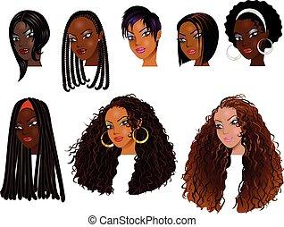 czarnoskóry, twarze, kobiety
