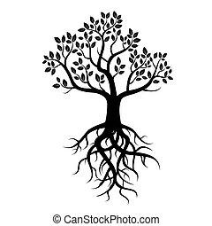 czarnoskóry, wektor, drzewo, podstawy