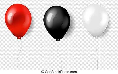 czarny czerwony, biały, balony, trzy