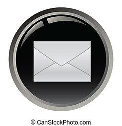 czarny guzik, e-poczta, wektor