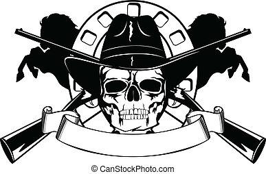 czarny kapelusz, czaszka