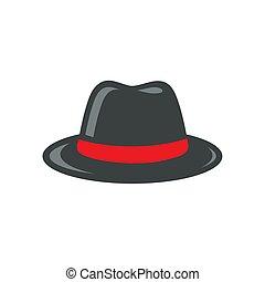 czarny kapelusz, fedora, ilustracja