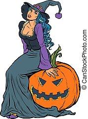 czarownica, dynia halloween, posiedzenie