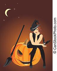 czarownica, halloween, dynia