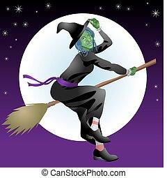 czarownica, halloween, straszliwy