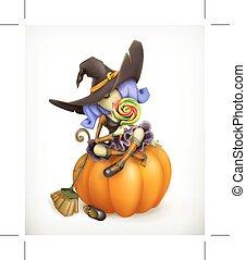 czarownica, ilustracja, dynia
