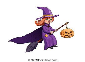 czarownica, janowiec, halloween, dynia