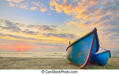 czas, łódki, wschód słońca