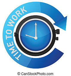 czas, praca, ilustracja, pojęcie