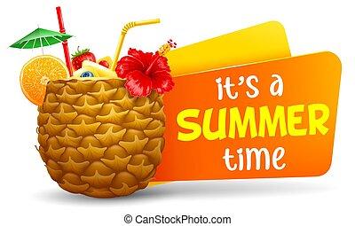 czas, tytuł, cocktail, egzotyczny, lato, ananas