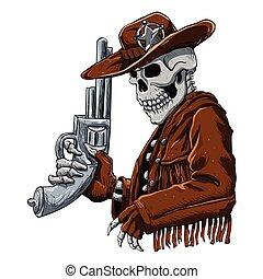 czaszka, cowboy.