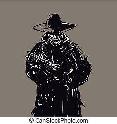 czaszka, ilustracja, kowboj, banita
